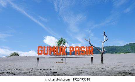 Amazing landscape Indonesia, Gumuk pasir or sand dune in Yogyakarta with beautiful blue sky
