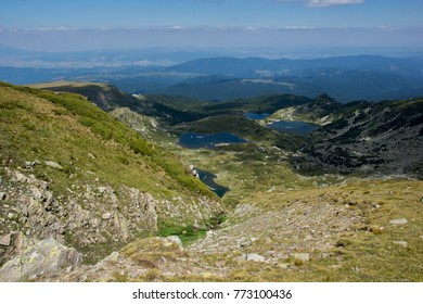 Amazing Landscape of The Lower, The Fish and The Trefoil lakes, The Seven Rila Lakes, Bulgaria