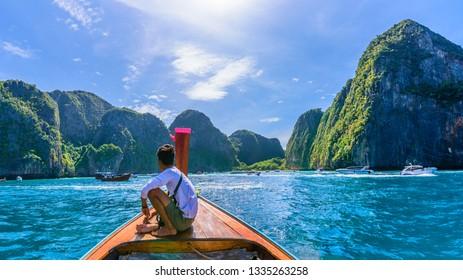 Amazing landscape with Maya Bay on Phi Phi Islands, Thailand