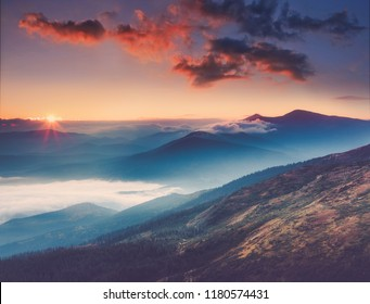 Amazing landscape in the mountains at sunrise. View of foggy hills covered by forest. Concept of the awakening wildlife, romance,emotional experience in your soul, joy in mundane life.