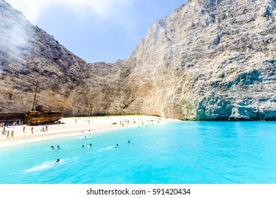 Amazing landscape of Navagio beach with shipwreck on Zakynthos island, view from the cruise ship. Greece.