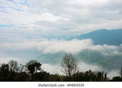 Amazing landscape in Northwest Vietnam in cloud. Terraced fields of ethnic minorities people in Vietnam. This is the cultural particularities of ethnic minorities.