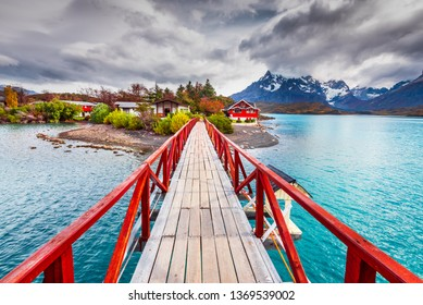 Amazing landscape of Patagonia, Torres del Paine and Pehoe lake in Chile, South America.