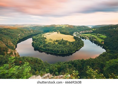 Amazing landscape with river at the sunset. Vltava river, Central Bohemia region, Czech Republic