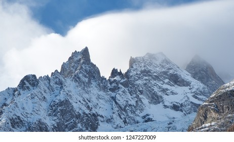 Amazing landscape at the summits of the Mont Blanc range on the Italian side