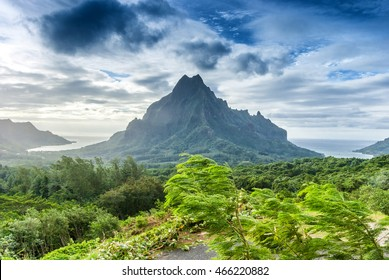 Amazing landscape of Tahiti, Polynesia. Mountains, forest and ocean.