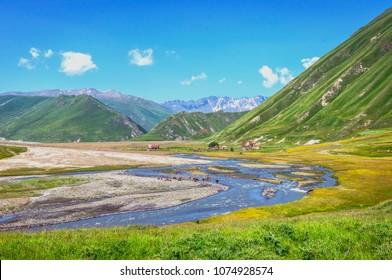 Amazing landscape of Truso valley, Kazbegi, Georgia