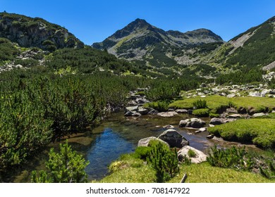 Amazing landscape with Valyavitsa river and Valyavishki chukar peak, Pirin Mountain, Bulgaria