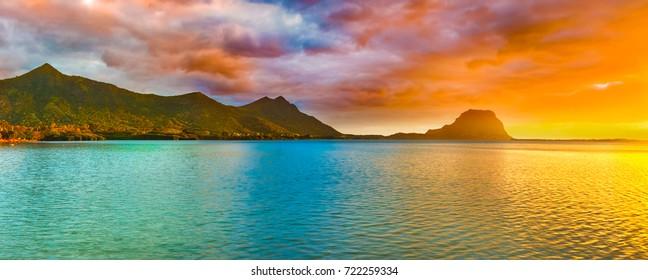 Amazing landscape. View of Le Morne Brabant at sunset. Mauritius island. Panorama