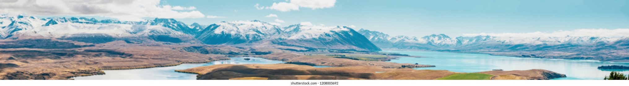 amazing landscapes viewed from Tekapo observatory, New Zealand