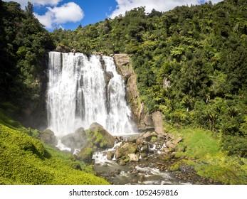 Amazing Large Waterfall Landscape in North Island, New Zealand near Waitomo Caves called Marokopa Falls