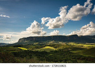 Amazing later afternoon landscape in Brazil with canyons and clouds and no people
