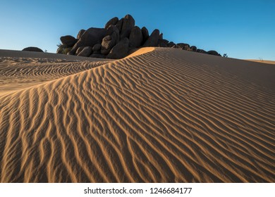 amazing lines at sandune at sunset in Sahara desert with rocks in the background