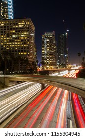 Amazing long exposure of Los Angeles Downtown traffic at night in California, USA.
