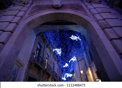 """The amazing """"Luci d'Artista"""" (artist lights) in Salerno during Christmas time, Campania, Italy. 2017"""