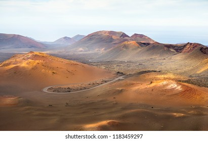 Amazing lunar landscape of Timanfaya National Park on the volcanic island of Lanzarote in Spain.
