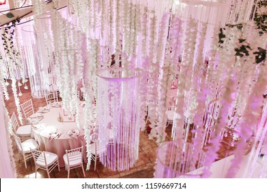 amazing luxury decorated place ceiling for wedding reception, catering in restaurant.