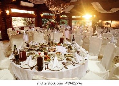 amazing luxury decorated tables for wedding reception, catering in restaurant