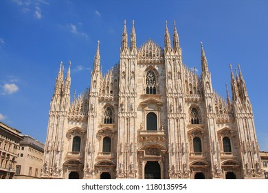 The amazing Milan Cathedral, Duomo di Milano, the largest Gothic cathedral in the world in Square Piazza Duomo, Italy