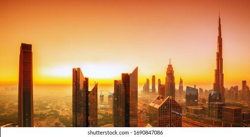 Amazing and modern Dubai city skyline at sunrise, United Arab Emirates
