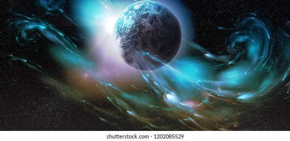 amazing moon walpaper for sci-fi or aniùe uses