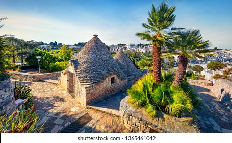 Amazing morning view of strret with trullo (trulli) -  traditional Apulian dry stone hut with a conical roof. Impressive spring cityscape of Alberobello town, province of Bari, Apulia region, Italy.