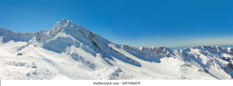 Amazing mountain landscape in Caucasus highlands. Winter in Rosa Khutor.