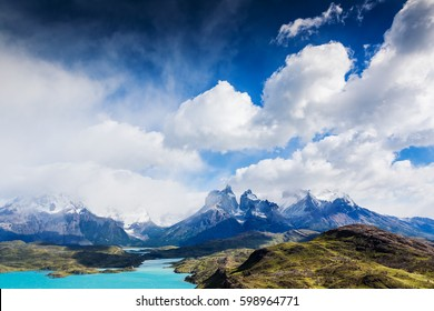 Amazing mountain landscape with Los Cuernos rocks and Lake Pehoe in Torres del Paine national park, Patagonia, Chile