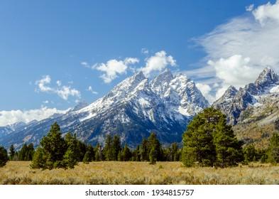 Amazing mountain views of Grand Teton National Park, Wyoming USA