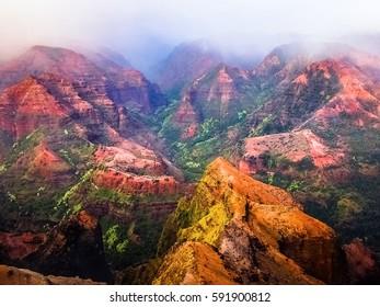 Amazing Mountains of Napali Coast State Wilderness Park in Kauai Island, Hawaii
