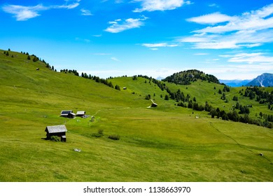 Amazing mountains and nature in the italian dolomites. Green meadows, hills, hiking and beautiful view.