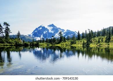 Amazing Mt Baker Reflection  panorama View at Picture lake 2.WA,USA.