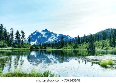 Amazing Mt Baker Reflection  panorama View at Picture lake 1. WA,USA.