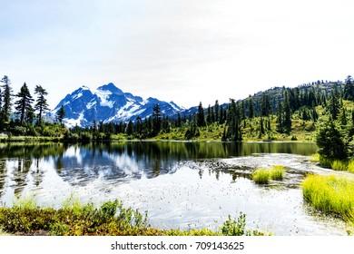 Amazing Mt Baker view at Picture Lake,WA, USA.