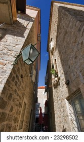 Amazing narrow streets in old town of Budva