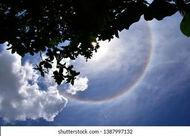 Amazing Natural phenomenon Sun halo in Thailand,or the sun with circular rainbow.