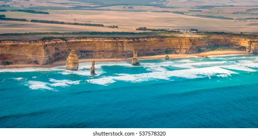 Amazing natural view of the 12 Apostles with Emerald Colored Sea by the Great Ocean Road in Victoria, Australia.