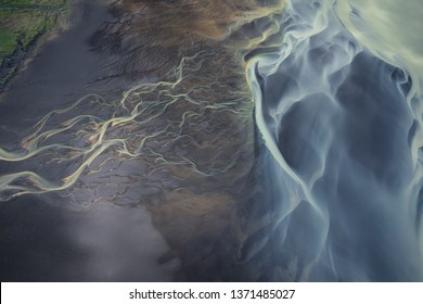 Amazing Nature, Aerial view of glacier rivers.