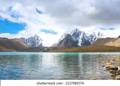 amazing nature highest blue lake  and snow white mountain landscape Gurudongmar lakes ,Himalaya  mountain at north Sikkim India