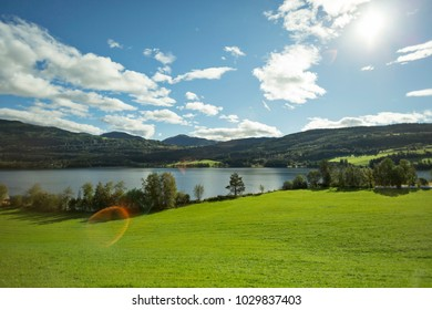 Amazing Nature Landscape ,Houses,Lake ,Green Fields and Mountains  view in Norway
