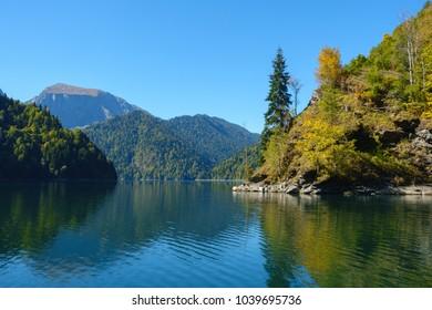 Amazing nature landscape view of beautiful lake Ritsa and Caucasian mountains, Abkhazia