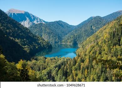 Amazing nature landscape view of lake Ritsa, Abkhazia