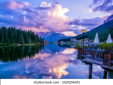 Amazing nature view of Misurina Lake and mountain range during a beautiful sunset. Location: Lake Misurina, Dolomites Alps, South Tyrol, Italy, Europe. Artistic picture. Beauty world. Nature Landscape
