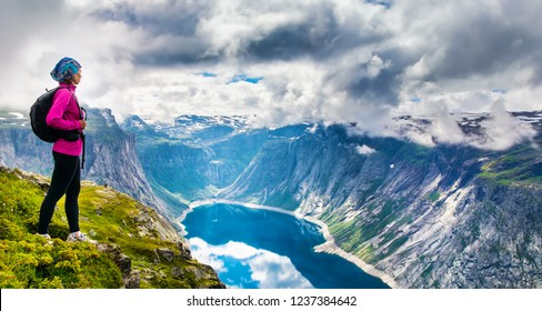 Amazing nature view on the way to Trolltunga. Location: Scandinavian Mountains, Norway, Stavanger. Artistic picture. Beauty world. The feeling of complete freedom