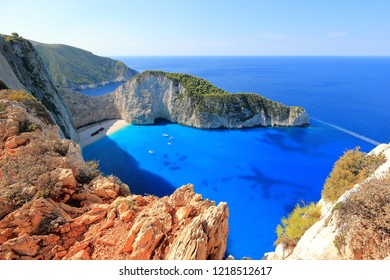 Amazing Navagio Beach or Shipwreck beach in summer. Zakynthos or Zante island, Ionian Sea, Greece.