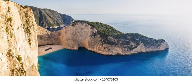 Amazing Navagio Beach with Shipwreck in Zakynthos, Greece