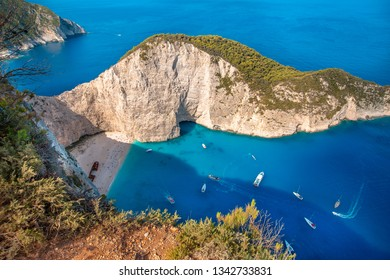 The amazing Navagio beach in Zakynthos, Greece, with the famous wrecked ship