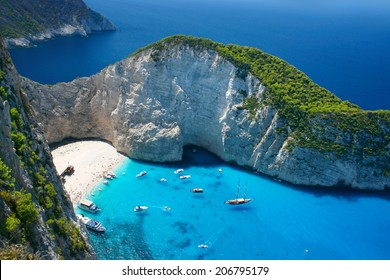 Amazing Navagio Beach in Zakynthos Island, Greece
