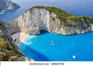 The amazing Navagio beach in Zante, Greece, with the famous wrecked ship