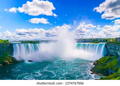 The amazing Niagara Falls is renowned for its beauty and is the collective name for three waterfalls that straddle the international border between Canad and the USA.